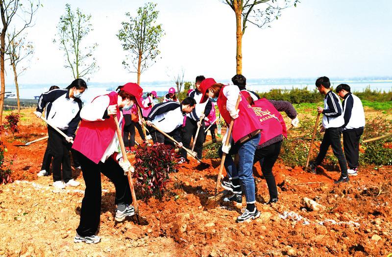 全民植绿四十载 美丽中国谱新篇 市四大班子领导和社会各界参加义务植树活动